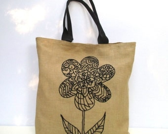 Black flower city jute bag , beach tote bag, hand embroidered, handmade tote bag, Casual Tote Bag