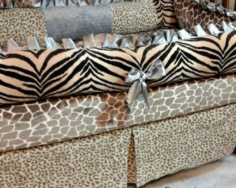 Baby Bedding, Animal Print Baby Bedding, Gray silver brown animal, Crib Bedding, Nursery Bedding, Baby Animal Print, Giraffe, Neutral Baby
