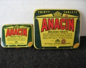 Vintage Anacin tins, Medical Tins, Small/Large