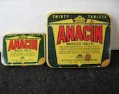 Vintage Anacin tins, Medical Tins, Small/Large