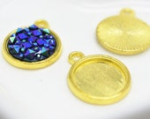 Cabochon Base Settings -30pcs Gold Tone Bezel Tray Charm Pendants 12mm M201-6