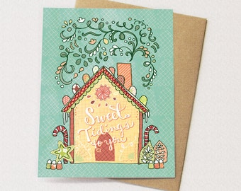 Gingerbread House Greeting Card - Gingerbread Holiday Card, Sweet Tidings, Paper goods, Stationery, Christmas Card