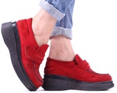 PLATFORM LOAFERS Shoes 90s Red Suede Women Strap Slip On Leather CHERRY Black Contrast Chunky Moccasins Shoe Sz Us women 7.5, Eur 38 , Uk 5