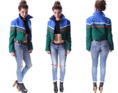 PUFFY JACKET Retro 80s Ski Jacket 70s Bright Blue Green Striped Puffer Crop Coat Color Block Zip Up Hipster 1970s Vintage Puff Medium