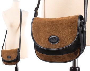 CROSSBODY Satchel Bag 80s BROWN Suede and Black Canvas Small Saddle Shoulder Bag 1980s Little Hippie Woman Purse Handbag Boho Pouch