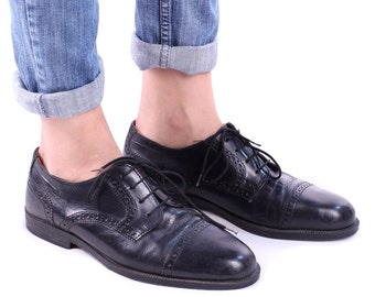 Black OXFORD Shoes 90s Real Leather Lace up Cap Toe Derby European Quality Italy Brogue Manly Shoes Us men 8, Us women 10, UK 7.5,  Eur 41