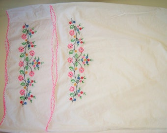 SALE: Embroidered Matching Pillow Cases - Set of Two Vintage Floral Hand Made, Pink, Green, Red, Blue, Flowers Floral