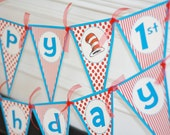 Happy Birthday Hat Cat Red Turquoise Blue Stripe Polka Dot Banner - Cupcake Toppers, Favor Tags & Door Sign Available