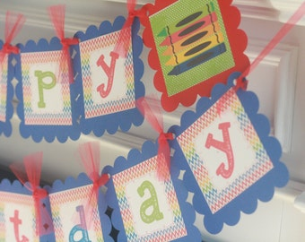 Happy Birthday Primary Color Chevron Crayon Coloring Art Royal Blue & Red Theme Banner - Party Pack Specials - Free Ship Over 65.00