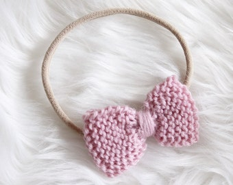 Hand Knitted 'Ivy' Bow Head Band, One Size fits Most, Made to Order, Custom Colours available