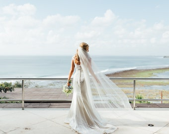 Couture bridal or wedding veil in soft English net  - Louisa
