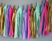 Tissue Tassel Garland in Pink Lavender Teal and Gold
