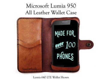 Microsoft Lumia 950 Leather Wallet Case - No Plastic - Free Inscription