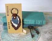 3 Feathers ----->> Leather key chain <<---- Key Fob--->> Purse charm<<--- Zipper pull--->>