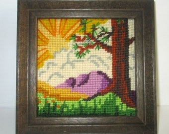 Vintage Framed Completed Needlepoint of Tree and Mountains