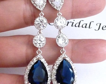 Wedding Bridal Earring Long LARGE Halo Dark Sapphire Blue Peardrop Cubic Zirconia Multi Round CZ Drops White Gold Plated  CZ Post Earrings