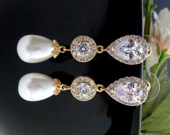Bridal Earrings Yellow Gold White Teardrop Pearl Halo Round Cubic Zirconia Peardrop CZ Post Wedding Earring