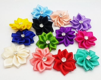 10 Satin Ribbon Flower with Crystal Embellishments Mixed Colors