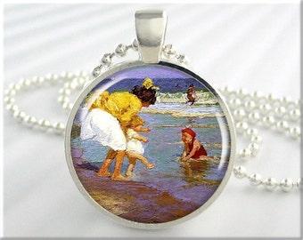 Potthast Seaside Pendant, Vintage Art Charm, Edward Henry Potthast Art, At The Seaside Necklace, Picture Jewelry, Gift Under 20 (712RS)