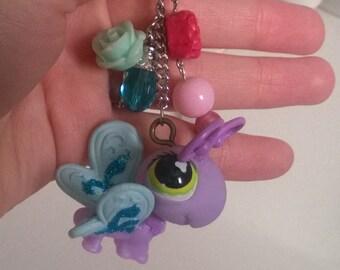 Littlest Pet Shop Purple Butterfly Keychain Bag Charm LPS Kawaii Pink Blue Cute Girl Teen Ooak Gift Toy Animal