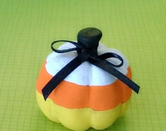 Candy Corn Pumpkin Polymer Clay Doll Halloween Holiday Trick or Treat Figurine Miniature ooak Autumn Fall Yellow Orange White