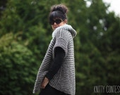 Chunky Sweater Fur Trimmed Hooded Cardigan Chunky  Hand Knit Sweater