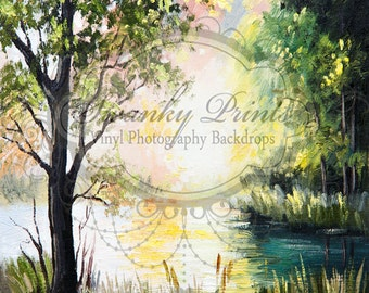 NEW 5ft x 5ft Vinyl Photography Backdrop / Photo Prop / Lake Forest