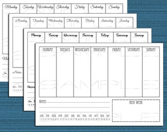 Week at a glance printable PDF - 4 styles - for planners and journals - digital download