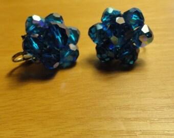 B393)  Vintage Laguna Blue Facted Crystal Clip on Earrings costume jewelry aurora borealis