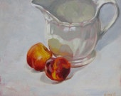 "Original oil on board daily painting still life nectarines fruit oil painting sketch 10"" x 12"" by H Irvine"