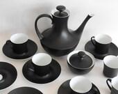 Mid-Century Black Bidasoa Coffee or Tea / Demitasse Set-Made in Spain