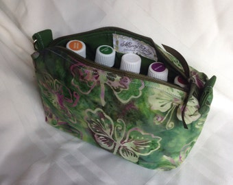 Butterfly batik Essential Oils Case Pouch, holds 10 bottles, 5ml - 15 ml (.5 oz), Ready to ship.   Green, Purple.