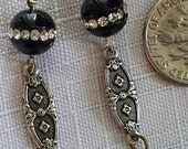 Black deco earrings with onyx and Swarovski crystal beads with vintage grey glass drops new black earrings