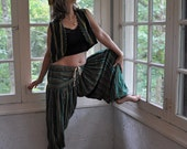 """Vintage """"Arabian Nights"""" Two Piece Pants Set/Tribal Harem Pants With Vest and Cap/Gypsy Belly Dancer Costume/One Size"""