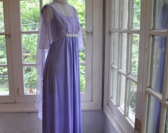 Greek Goddess Party Dress With Floating Cape/Vintage 1960s/Designer Emma Domb/Lavender Chiffon Choker Illusion Dress/Size Small