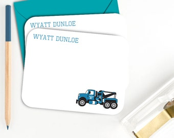 Personalized Tow Truck Notecards Childrens Personalized Stationery  Boys Personalized Flatcards Boys Personalized Stationary Thank You Cards