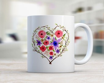 Mug, Floral Mug, Purple Red 11oz  Mug, Ceramic Mug, Coffee Mug, Coffee Lover, Original  Watercolor Art,  Red Rose heart Floral Design, Gift