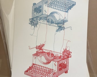 Vintage Typewriter Drawing - Limited Edition Letterpress Print of 75 (RED/BLUE)