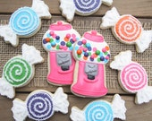 Candy Party Favors / Candy Buffet Party Favors / Bubblegum Machine Favors / Bubblegum Party Favors / Candyland Sugar Cookies - 14 cookies