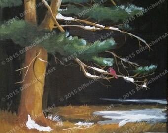 Painting-Oil on canvas-Oil Painting-Winter scene-Bird Art-Original by Diann