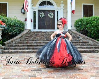 Red Black and Grey Tutu Dress, Vintage tutu dress, Flower Girl Tutu Dress, Pageant Tutu Dress, Kids Photo Props, Wedding Tutu, Birthday tutu