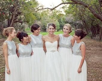 Bridesmaid sequin and chiffon  dress,bridesmaid maxi dress made to order