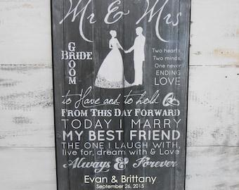 "Personalized Wedding ""Mr. & Mrs.""  Wall Decor Wedding Plaque, Mr and Mrs Wedding Gift, Personalized Wedding Gift, Mr and Mrs Wall Plaque"