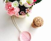 Leaf Skeleton Necklace - Pink Natural Resin Pendant Botanical Whimsical Pressed