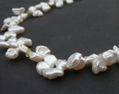 Keshi Pearl White Color 12-14mm, Natural Gem Peridot Rondelle, 14kt Yellow Gold Filled Necklace, Heshi Pearl Necklace