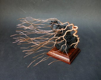 Windswept Wire Sculpture Bonsai Gem Tree on Brazilian Wood Base With Natural Lanzarote Lava Stone
