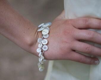 Handmade - White Vintage Button Bracelet