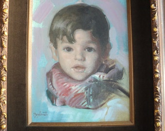 Original Portrait Painting  of a Young Child signed by The Artist Monserrate, Oil on Canvas Board painting in gilded frame in Good Condition
