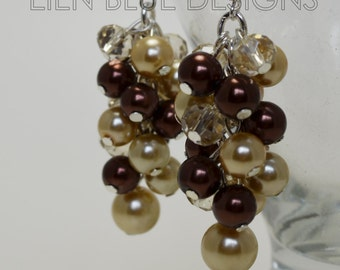 Pearl Cluster Earrings, Champagne and Brown Chunky Earrings, Cluster Earrings, Pearl Earrings, Brown an Beige Wedding, Beige Pearl Earrings