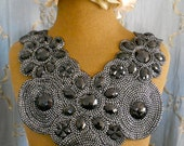 Black and Silver Stone Beaded Appliques